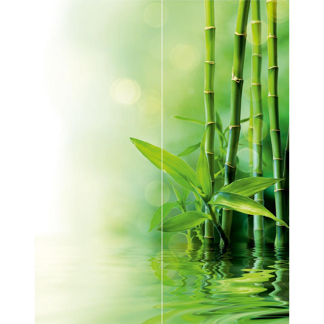 Duschrückwand Bambus Wasser über Eck Set Motiv