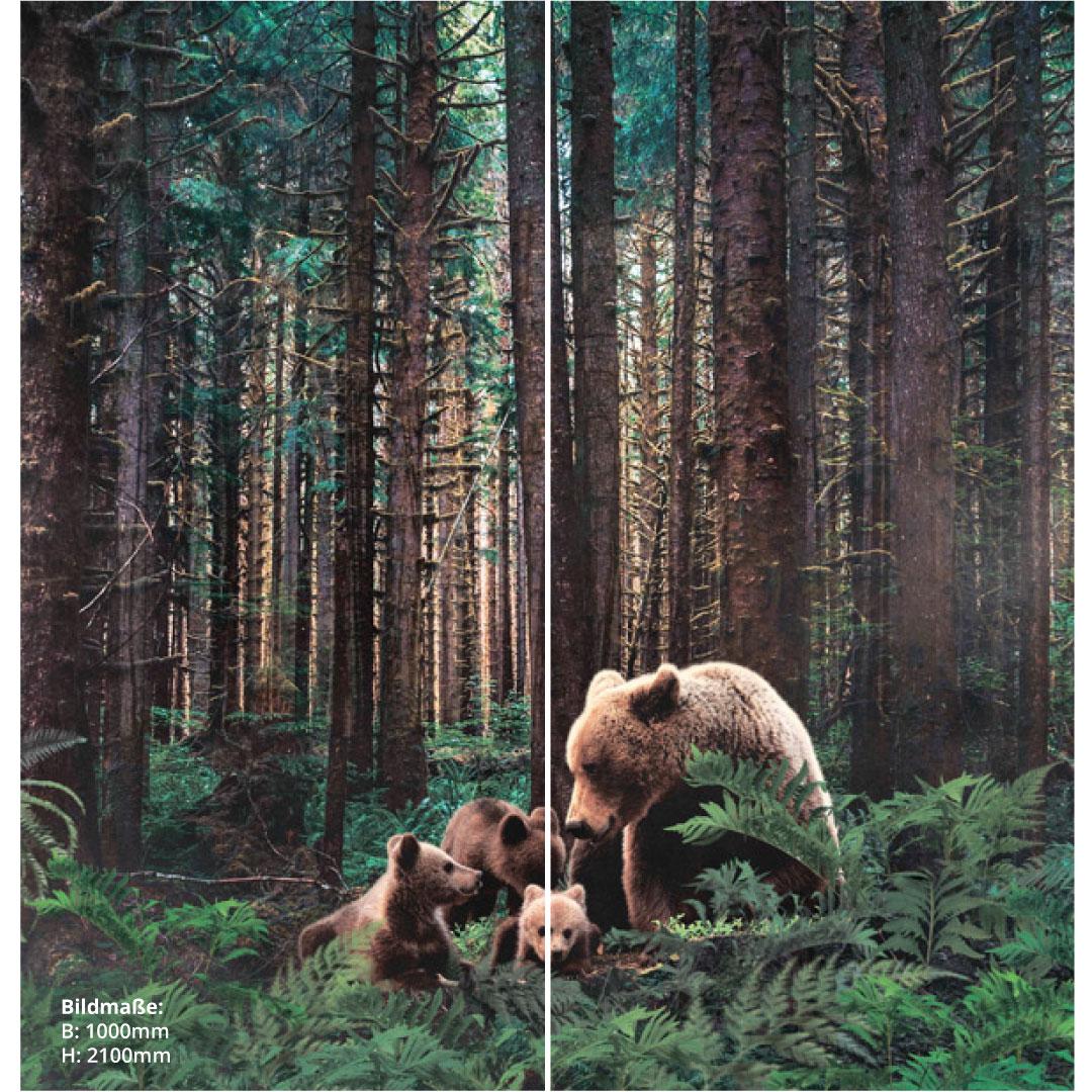 Duschrückwand Bären im Wald über Eck Set