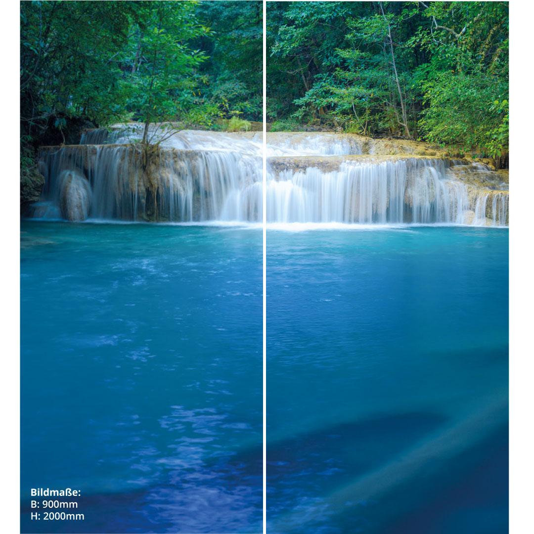 Duschrückwand Waldwasserfall Thailand 2 über Eck Set