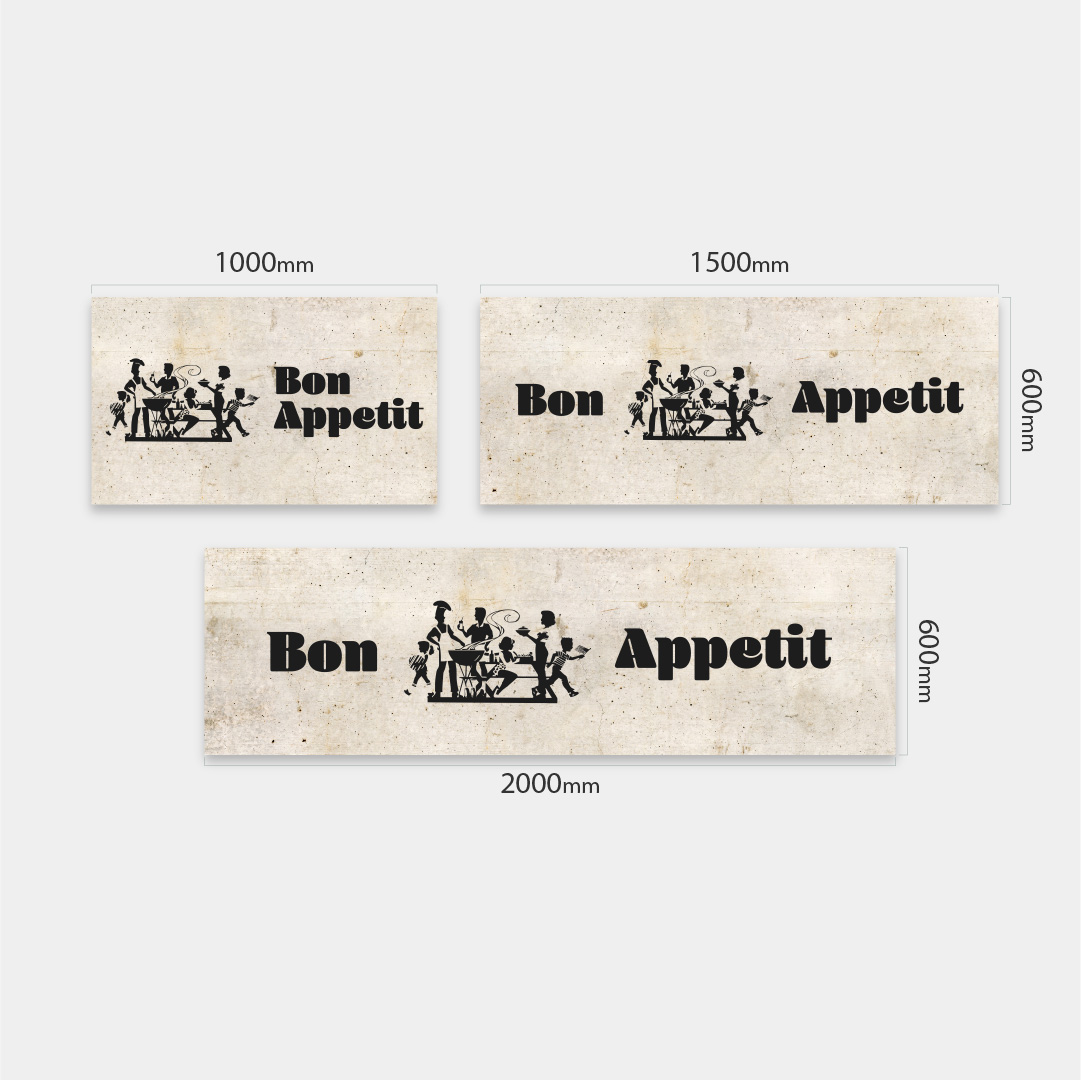 Küchenrückwand Bon Appetit auf Beton Vintage 1 Massen