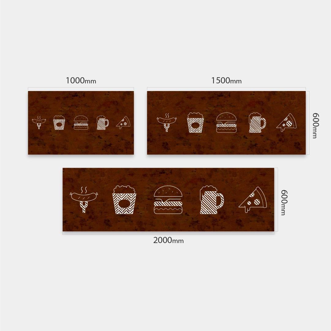 Küchenrückwand Essen Gestrichelt auf Rust Vintage Massen