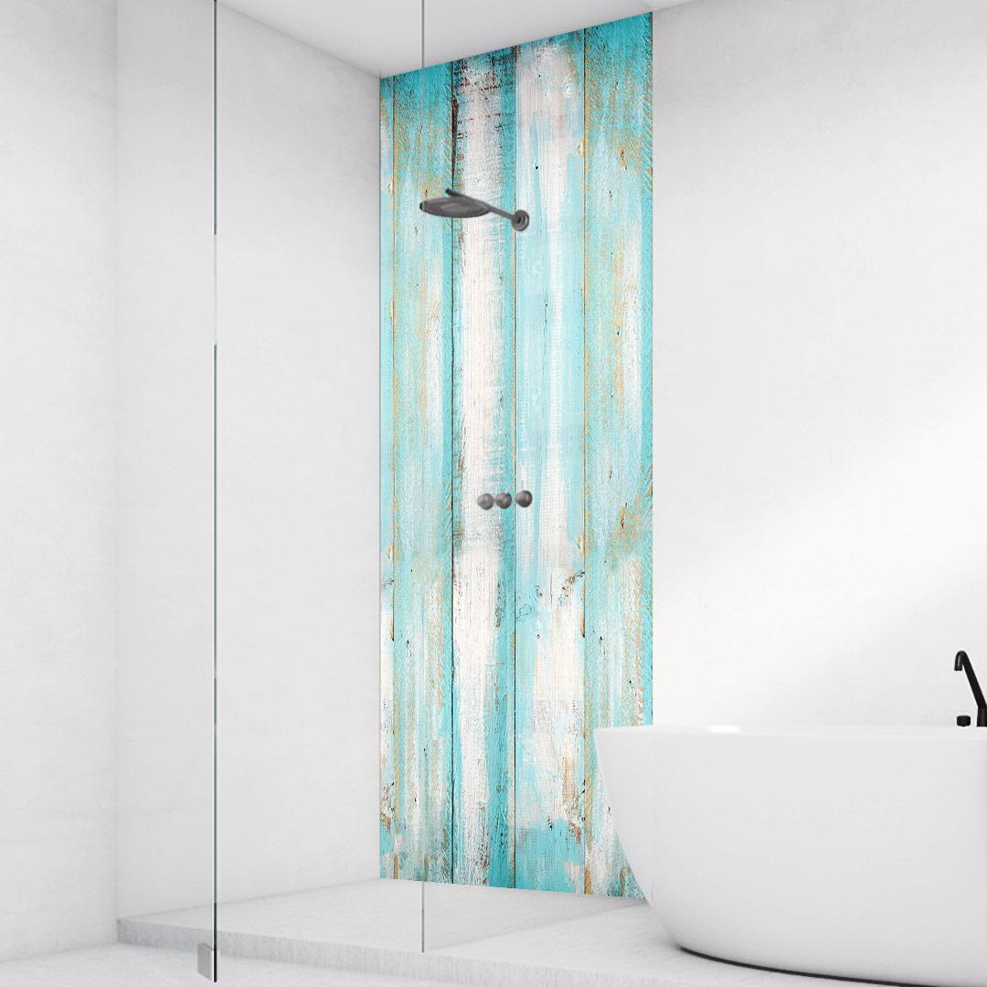 Duschrückwand Holzwand Aqua