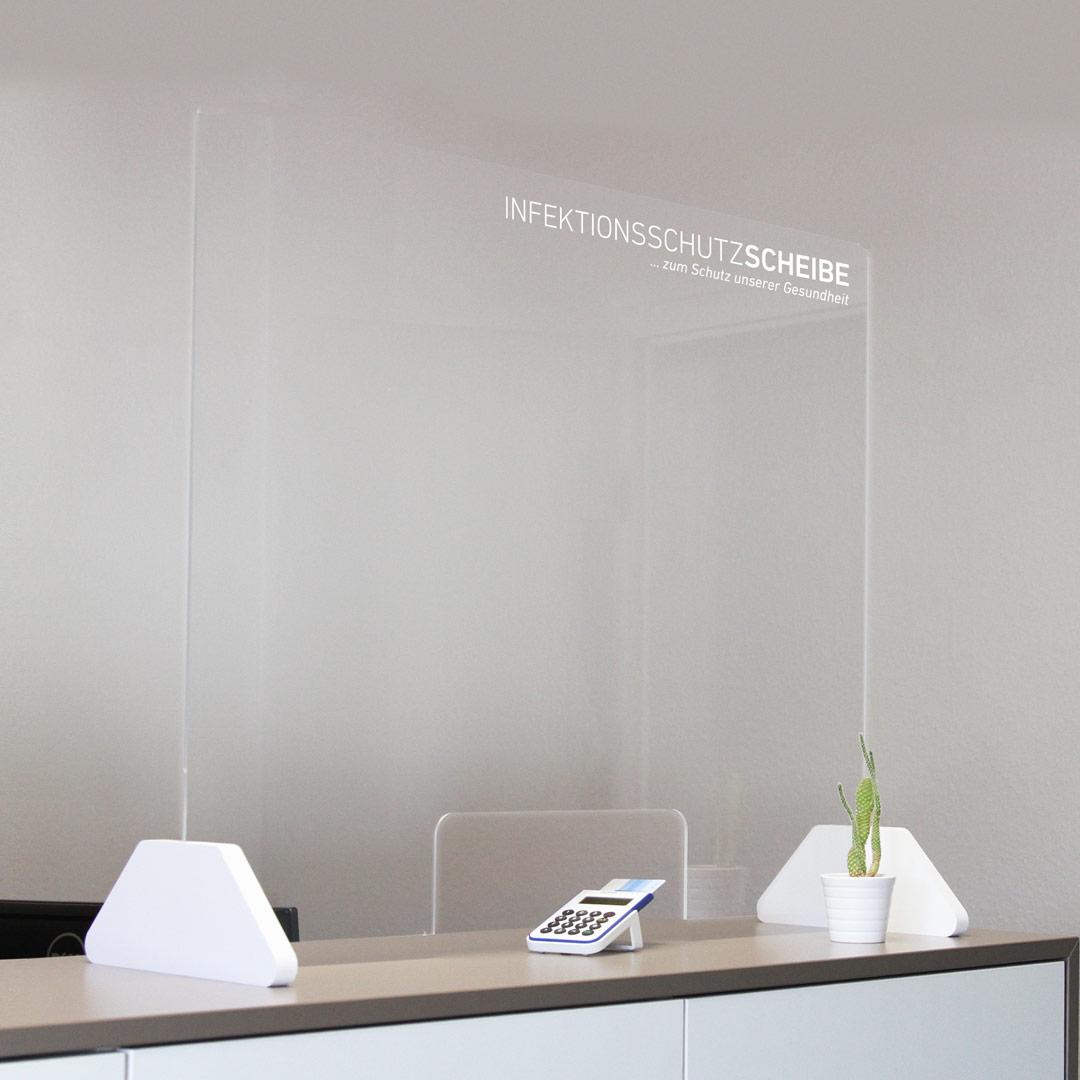 Infektionsschutz Scheibe / Spuckschutz Wand / Hustenschutz als Aufsteller