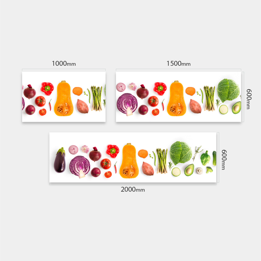 Küchenrückwand Lebensmittel Mix weiß Massen