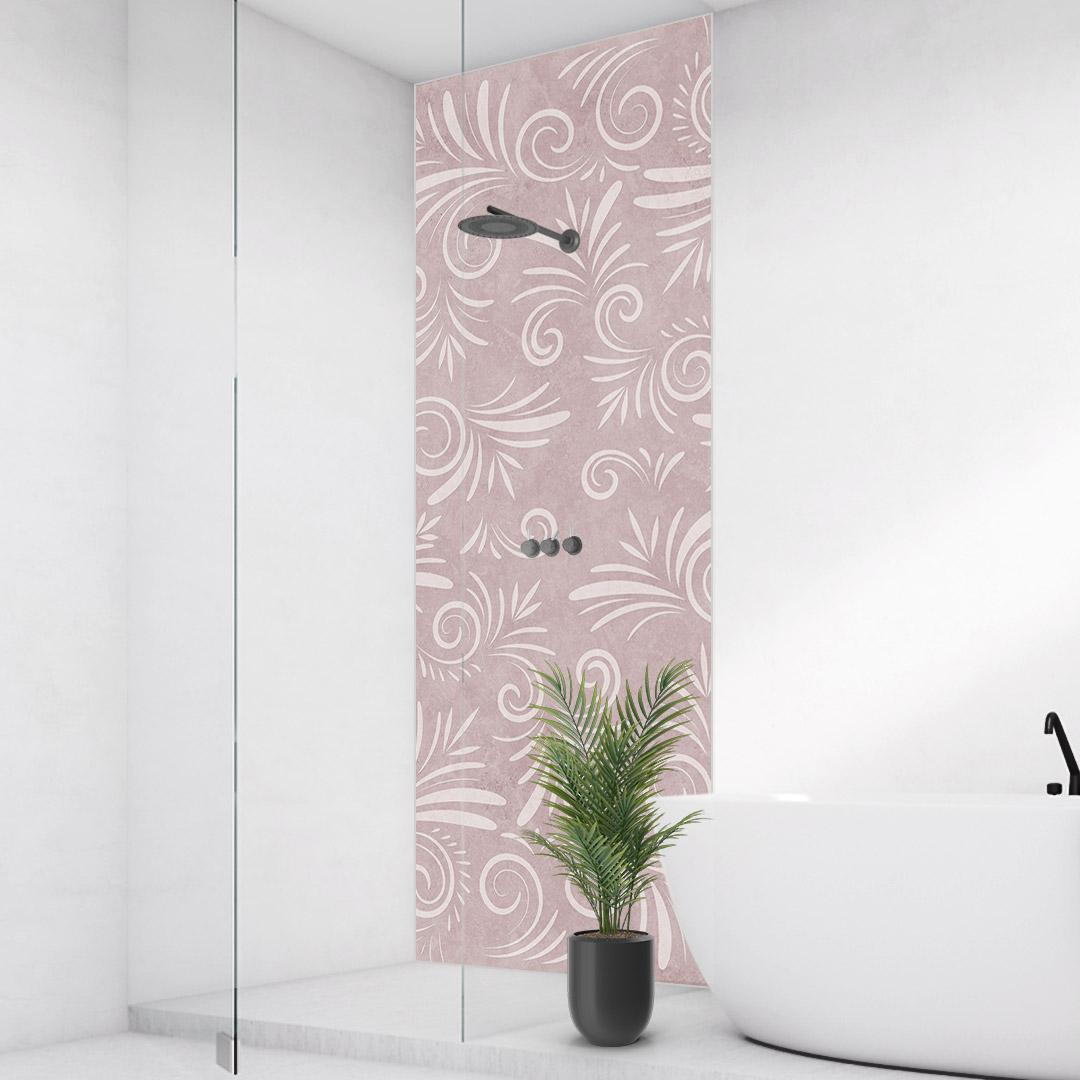 Duschrückwand Kalkstein Floral rosa