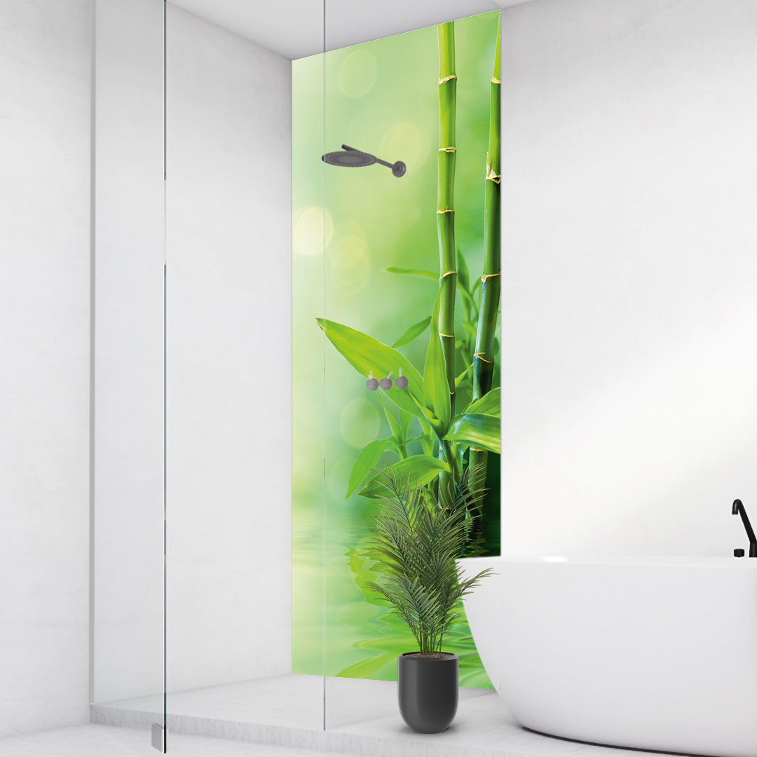 Duschrückwand Bambus Wasser