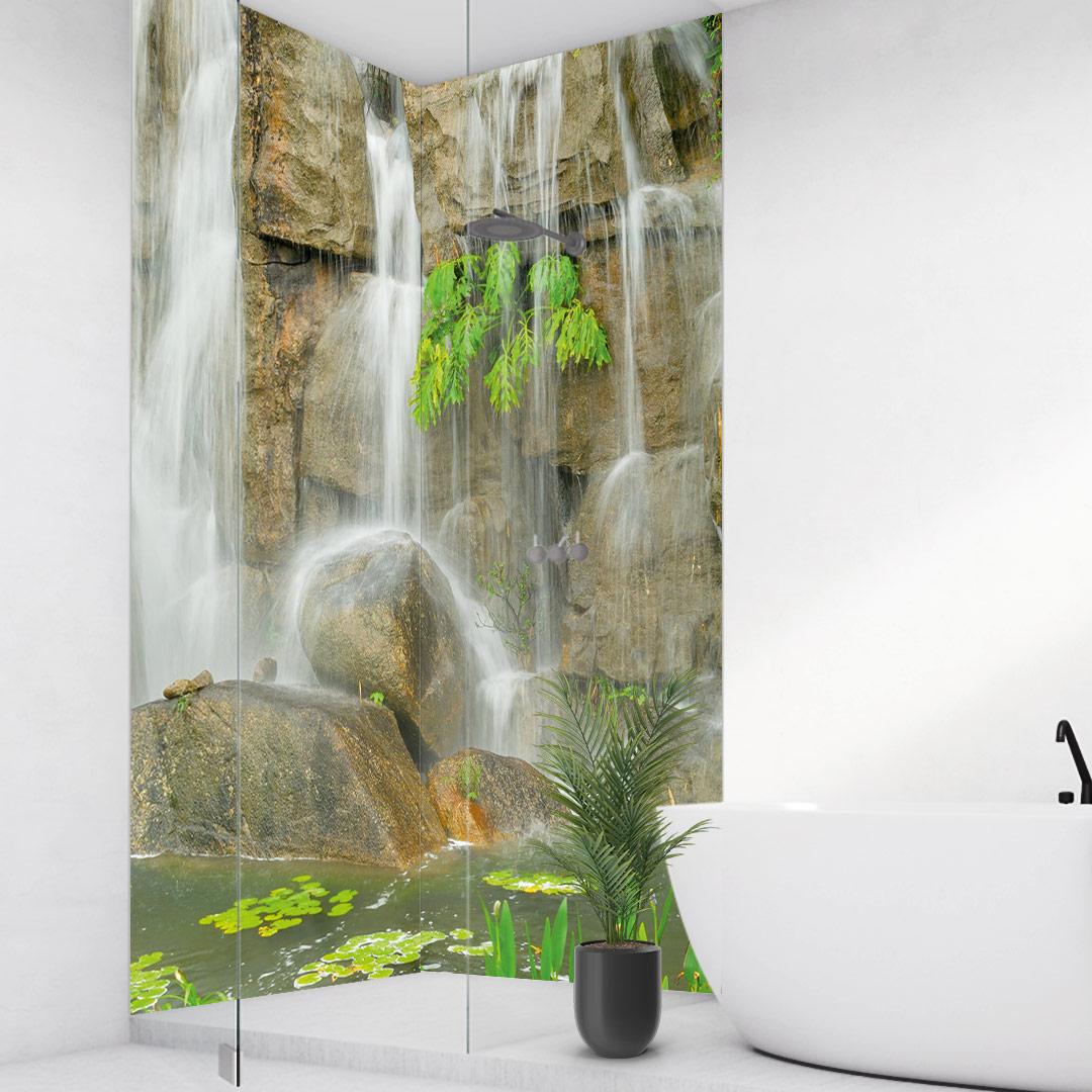 Wasserfall Steine Eckdusche