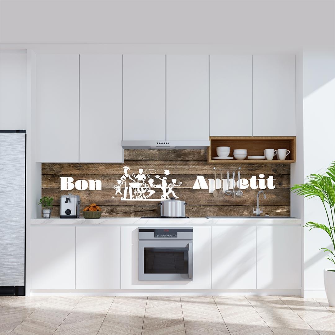 Küchenrückwand Bon Appetit auf Pinienholz