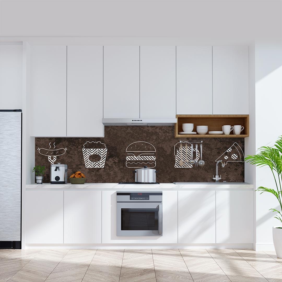 Küchenrückwand Essen Gestrichelt auf Oxidian Flair