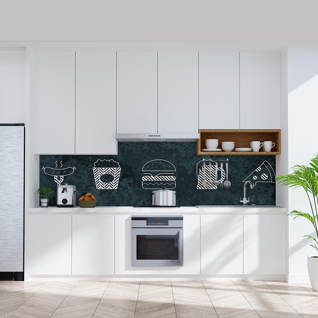 Küchenrückwand Essen Gestrichelt auf Oxidian Flair grün