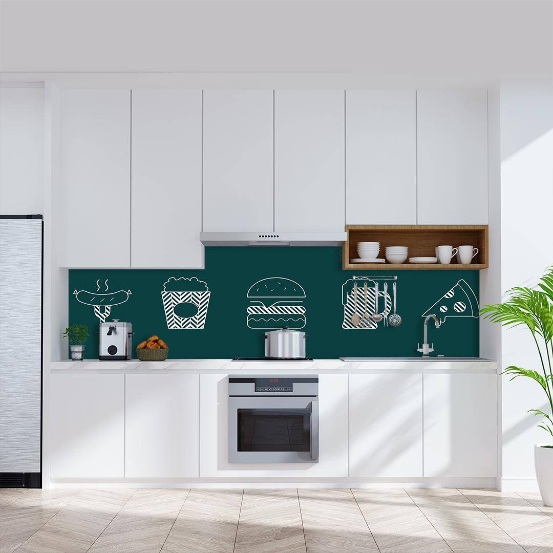 Küchenrückwand Essen Gestrichelt grün