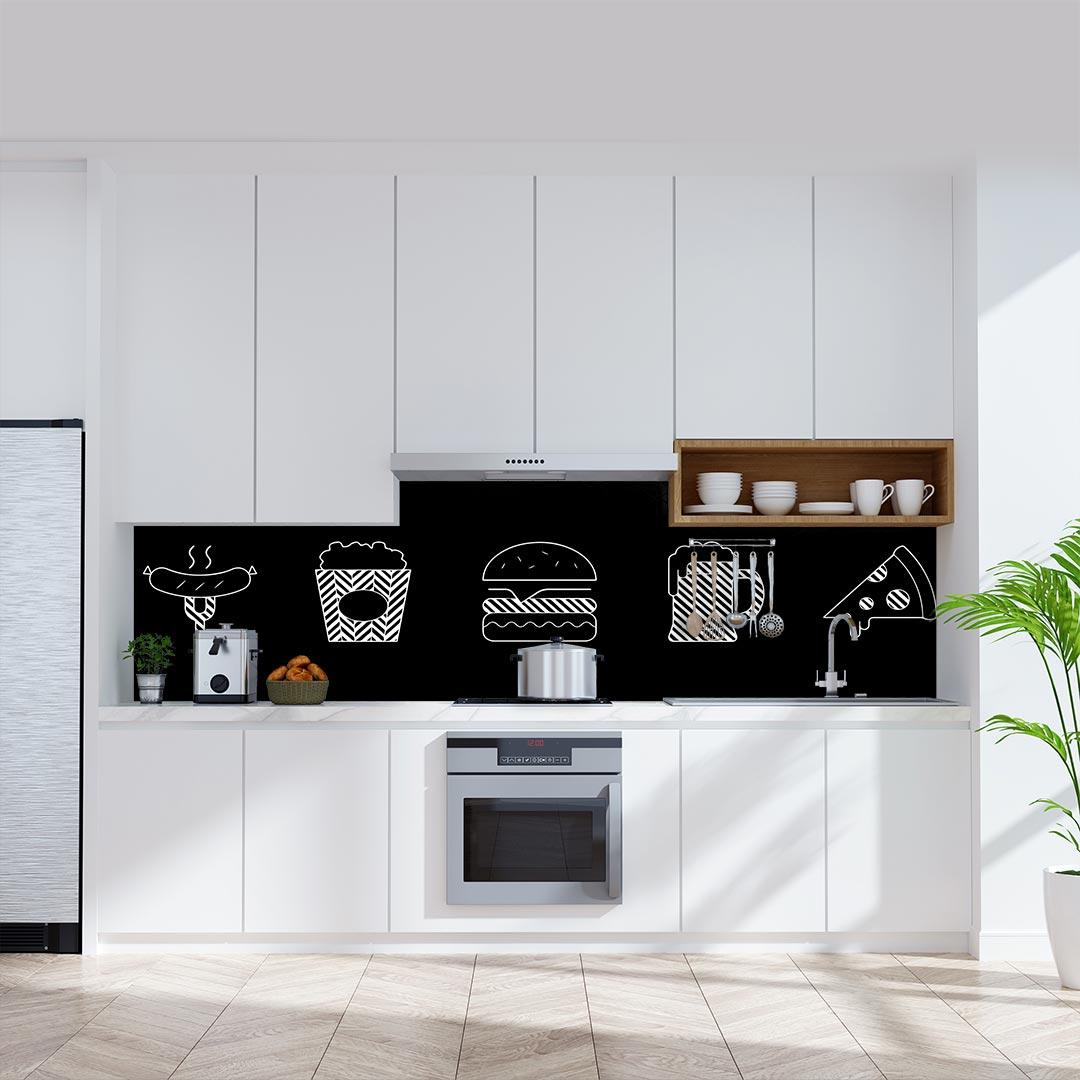 Küchenrückwand Essen Gestrichelt schwarz