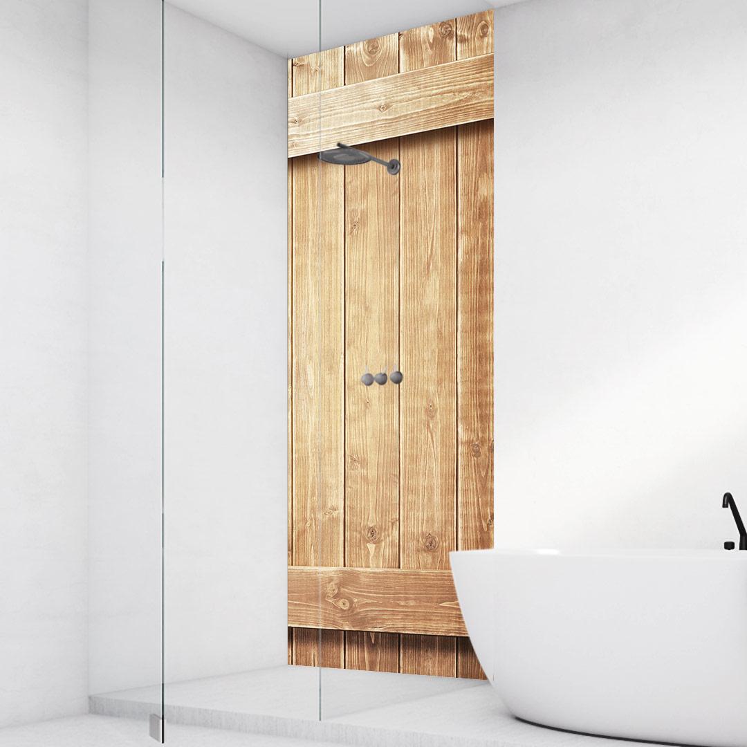 Duschrückwand Holzwand-mit-Leisten