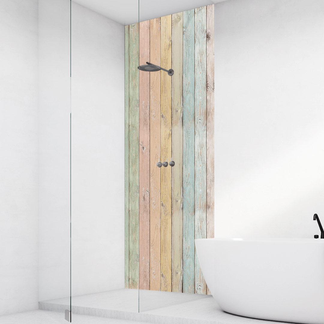 Duschrückwand Holzwand-Pastel