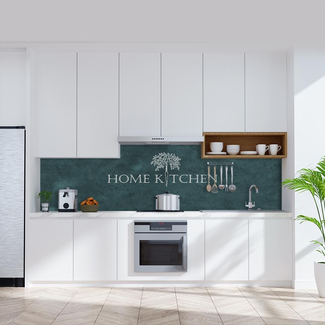 Küchenrückwand Home Kitchen auf Schiefer grün