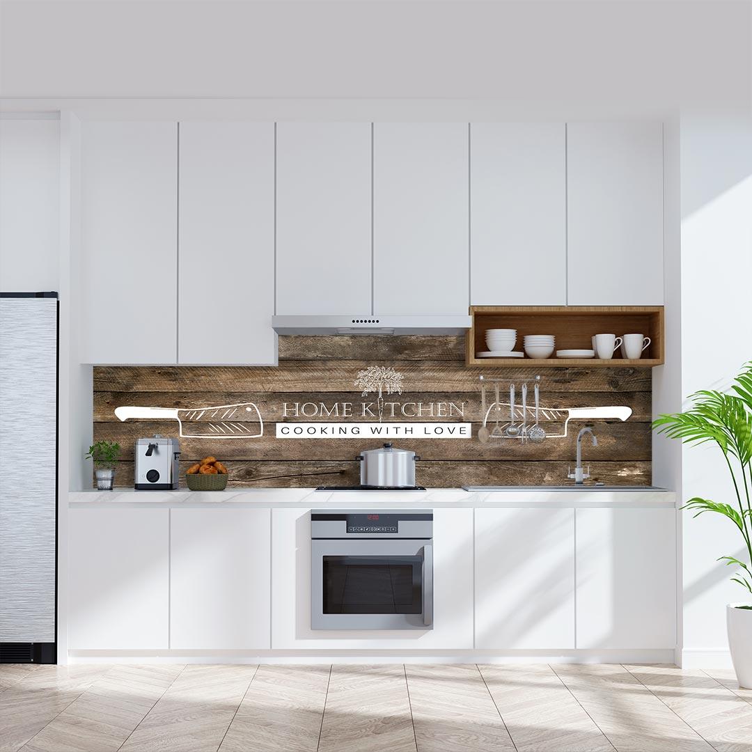 Küchenrückwand Home Kitchen Messer auf Pinienholz