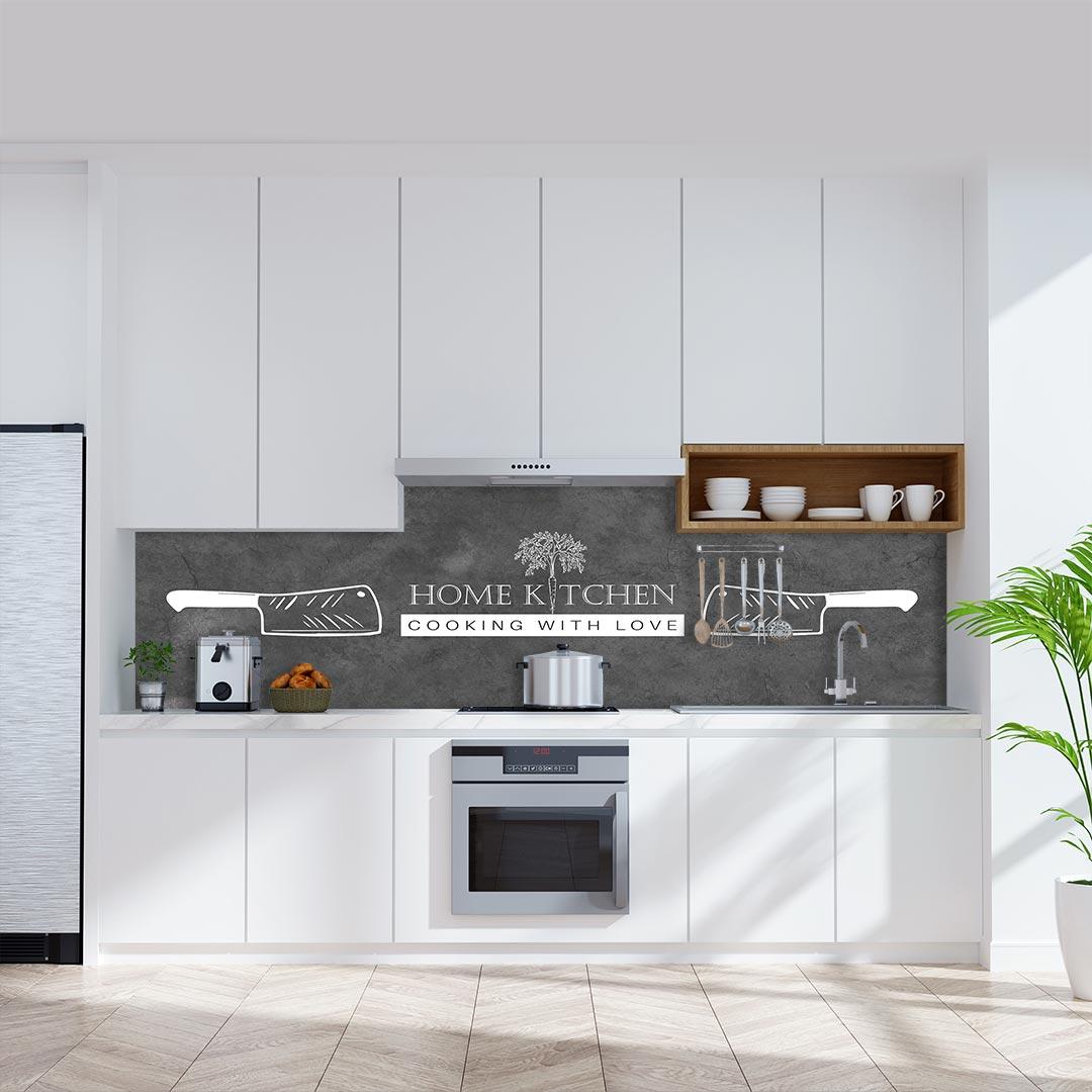 Küchenrückwand Home Kitchen Messer auf Schiefer grau