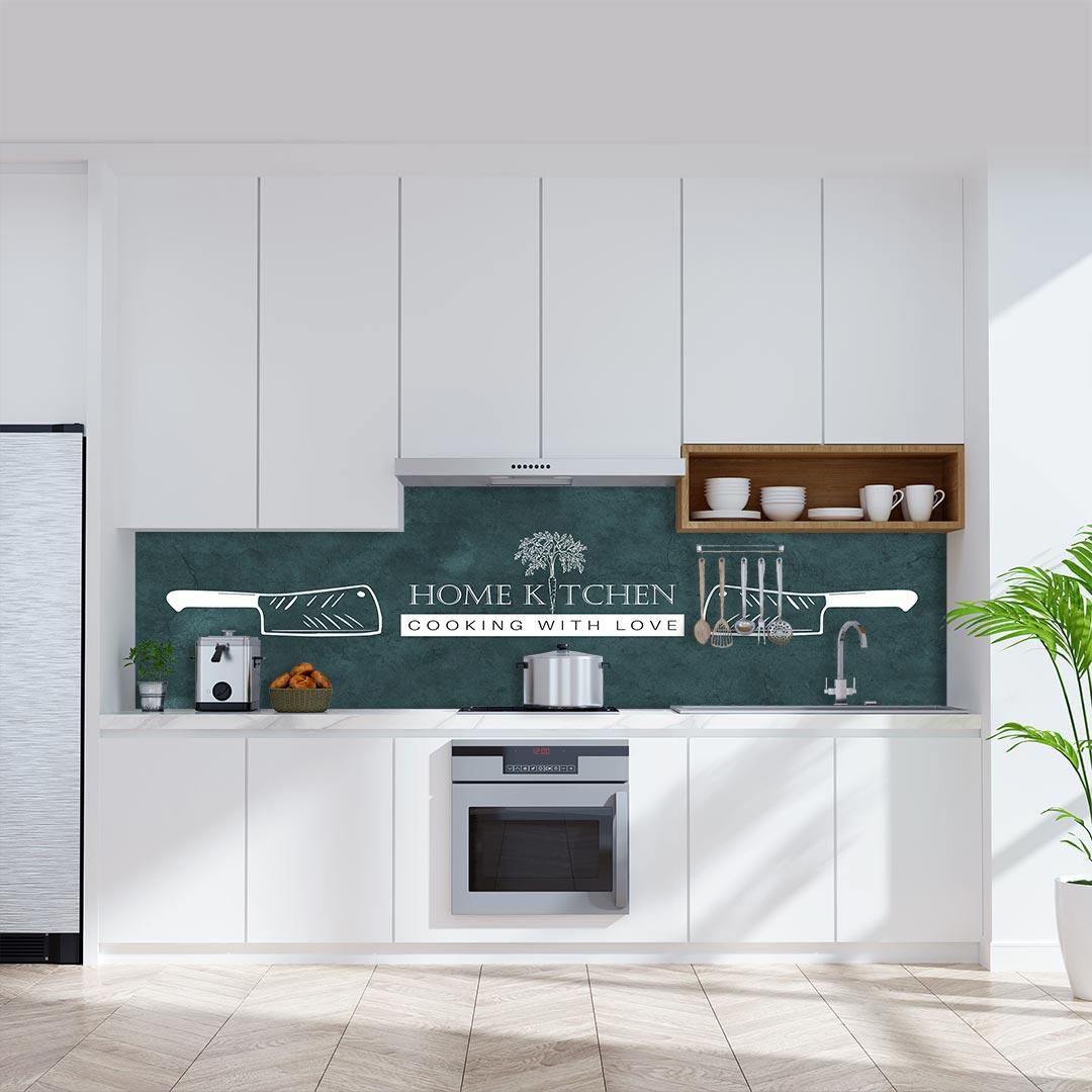 Küchenrückwand Home Kitchen Messer auf Schiefer grün