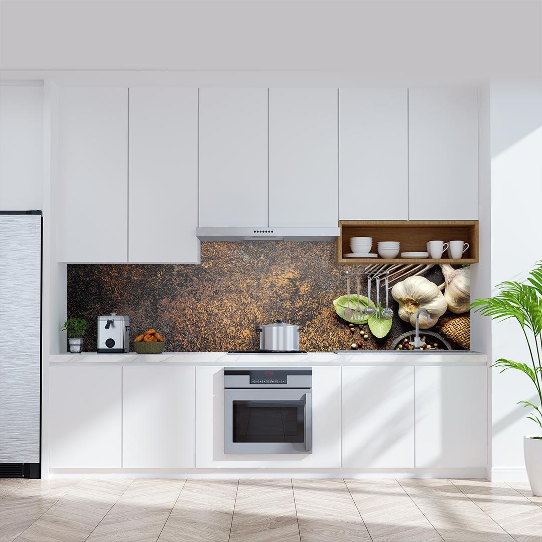Küchenrückwand Knoblauch