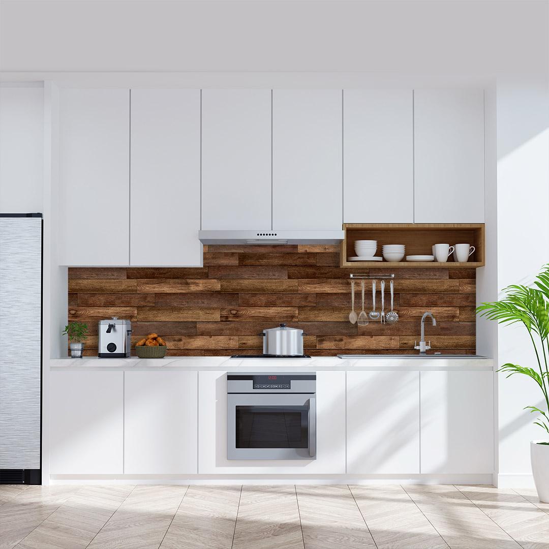 Küchenrückwand Holzwand-mit-Leisten