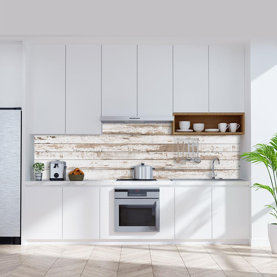 Küchenrückwand Holz weiss