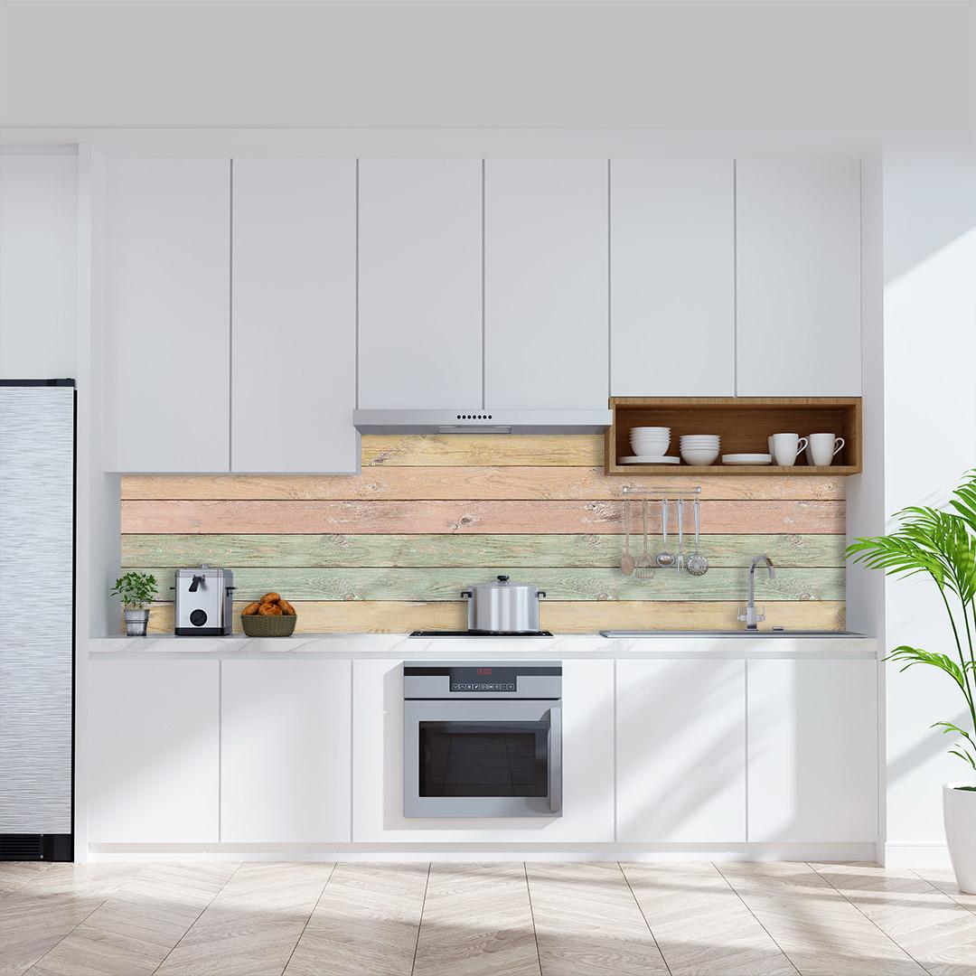 Küchenrückwand Holzwand-Pastel