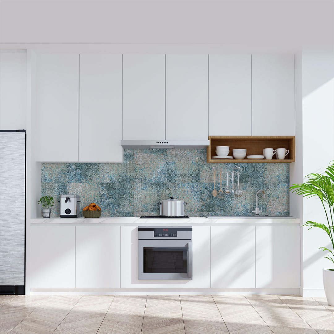 Küchenrückwand blauer türkis Mosaic