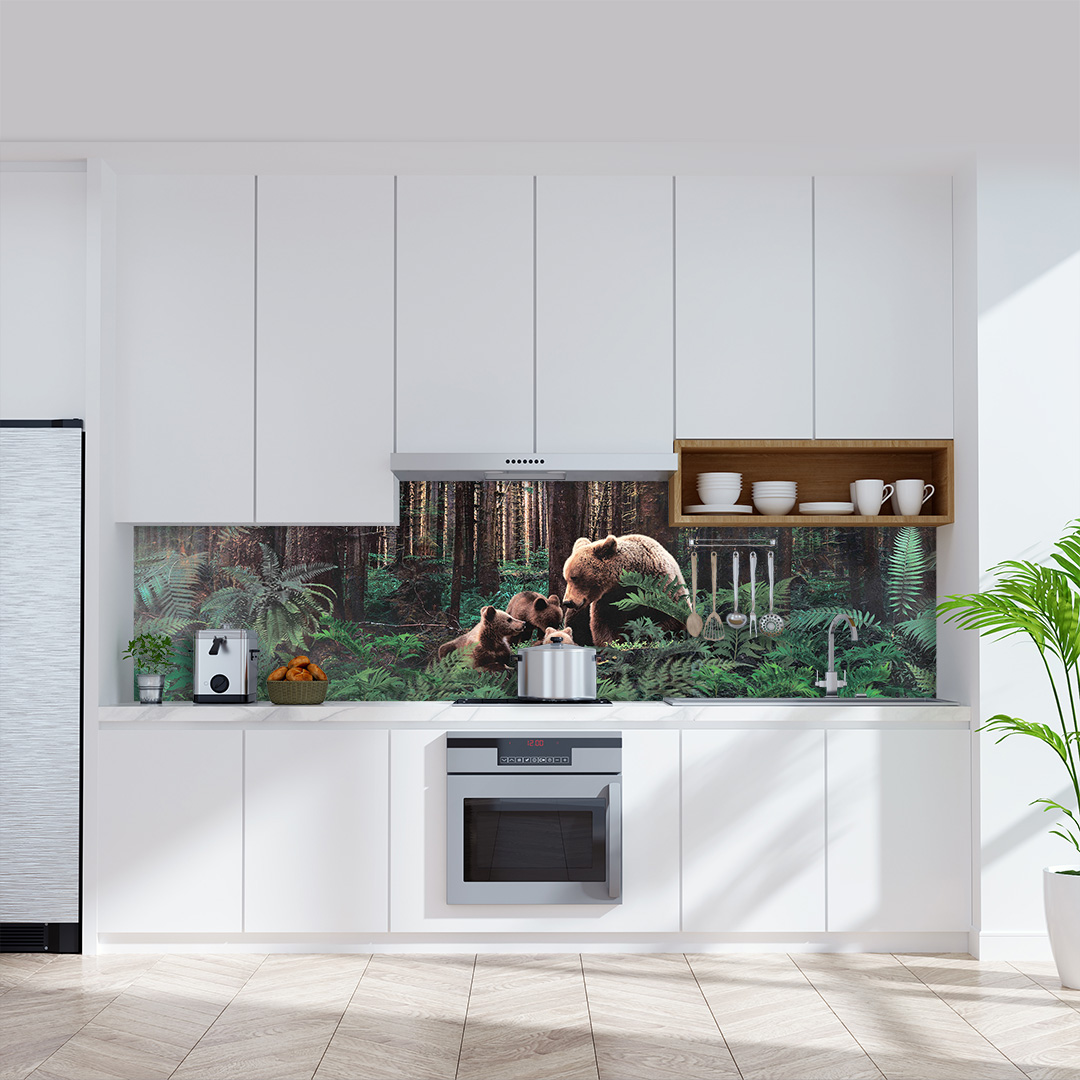Küchenrückwand Bären im Wald