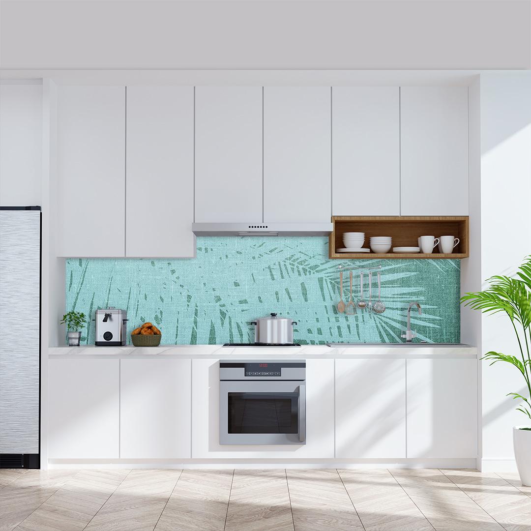 Küchenrückwand  Palmen Vintage grünweiss