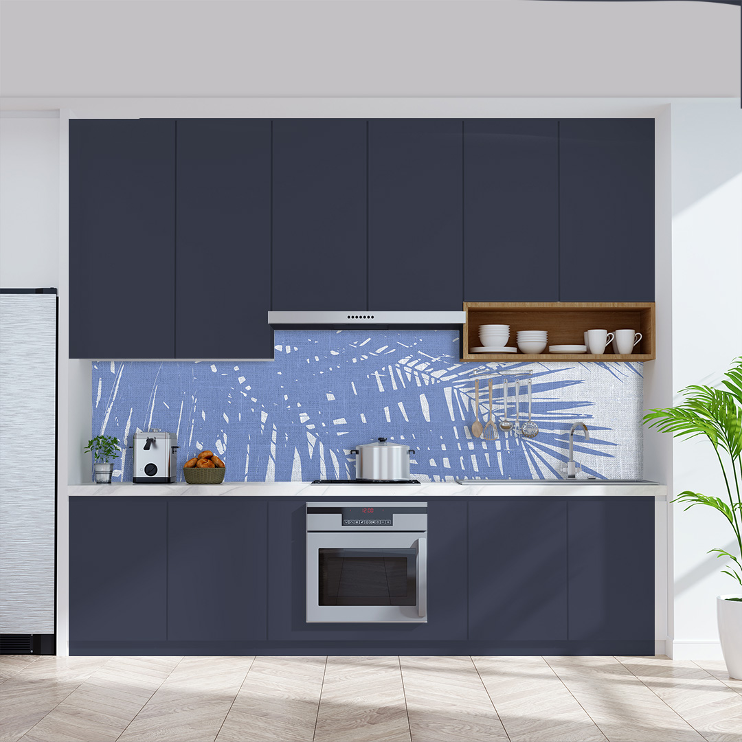 Küchenrückwand  Palmen Vintage blauweiss