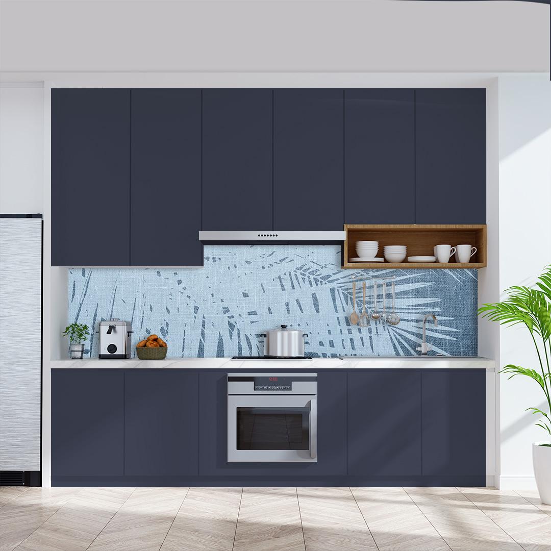 Küchenrückwand  Palmen Vintage blau