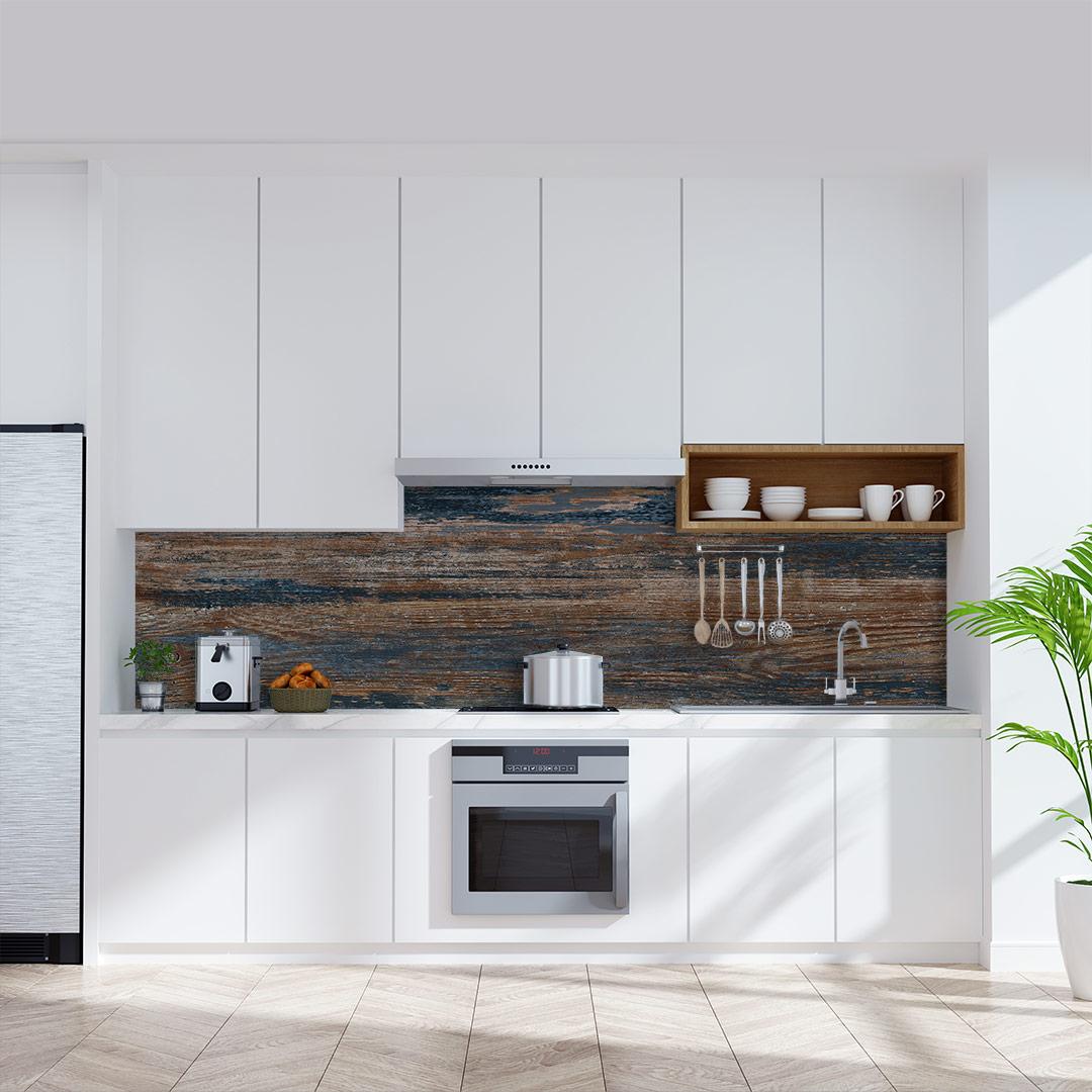 Küchenrückwand Blauholz Vintage