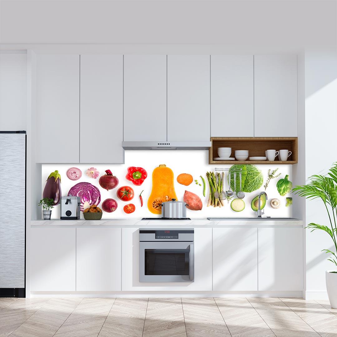 Küchenrückwand Lebensmittel Mix weiß