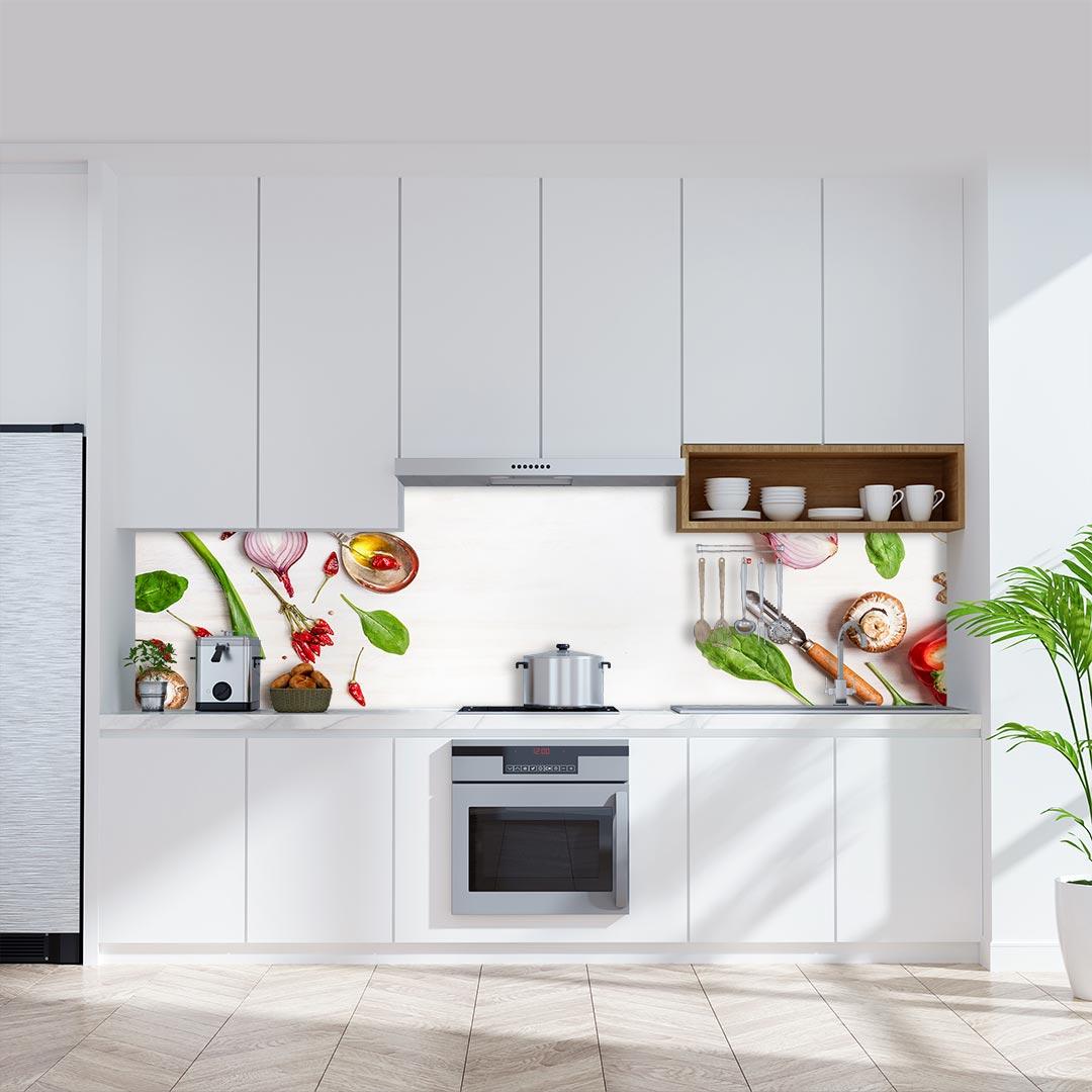 Küchenrückwand Lebensmittel weiß