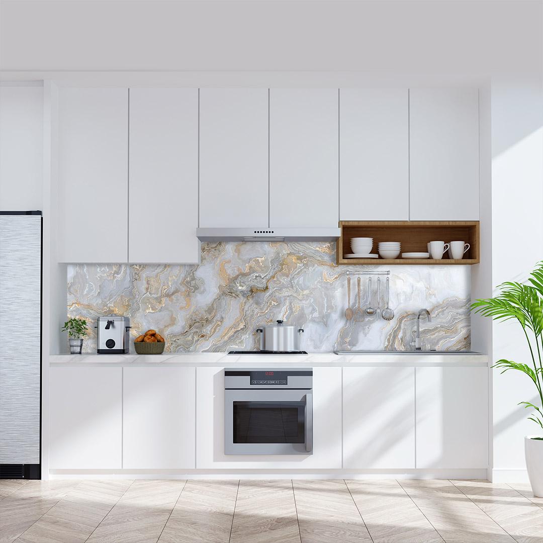 Küchenrückwand Marmor Gold