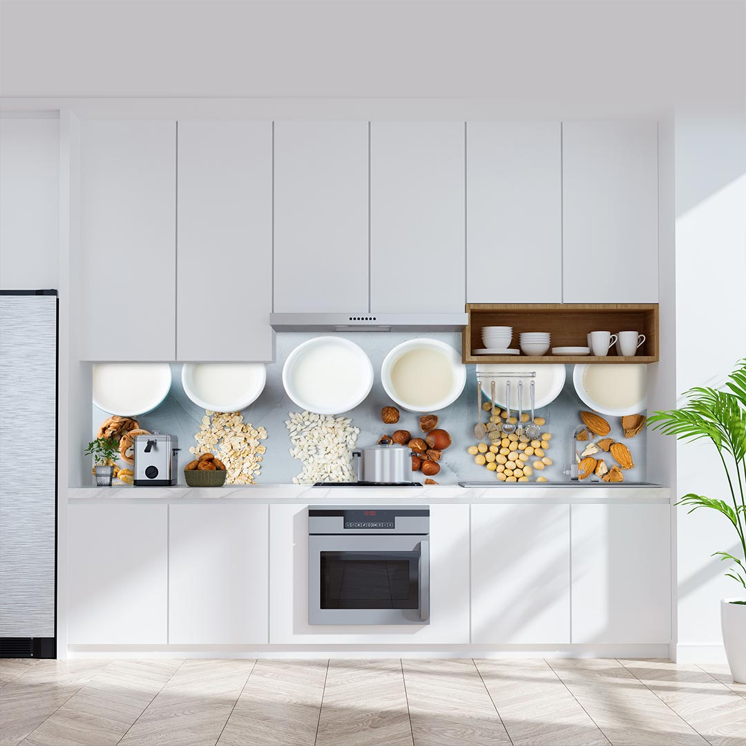 Küchenrückwand Milcharten