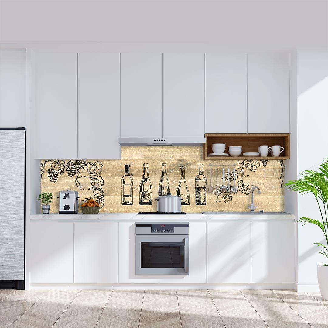 Küchenrückwand Weinflaschen auf Eiche Gekalkt
