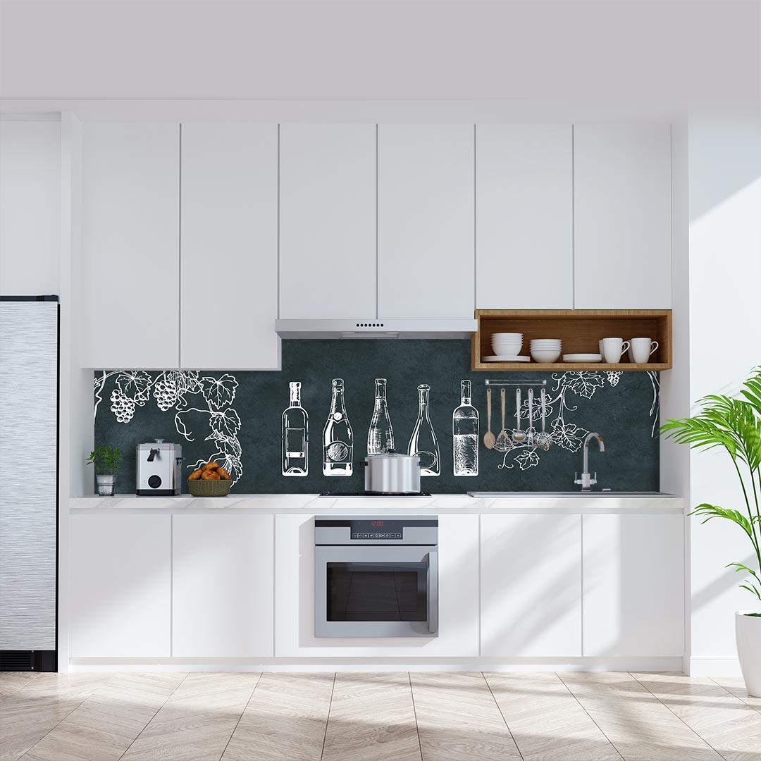 Küchenrückwand Weinflaschen auf Schiefer grün