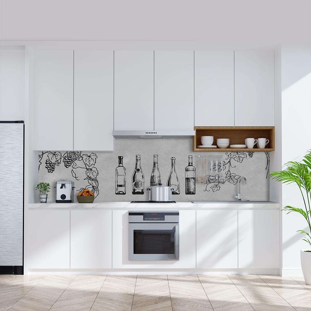 Küchenrückwand Weinflaschen auf Schiefer hellgrau