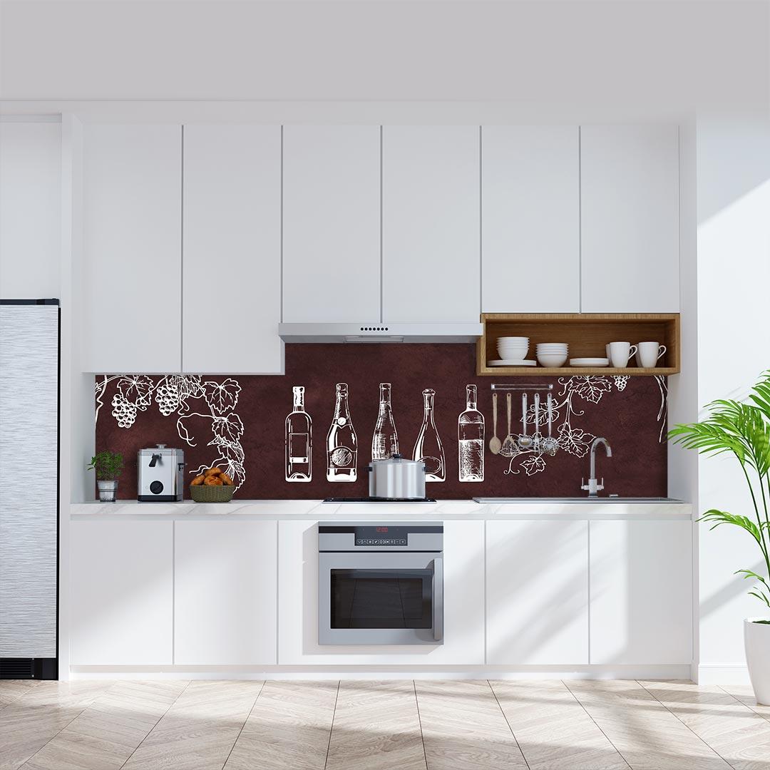 Küchenrückwand Weinflaschen auf Schiefer rot