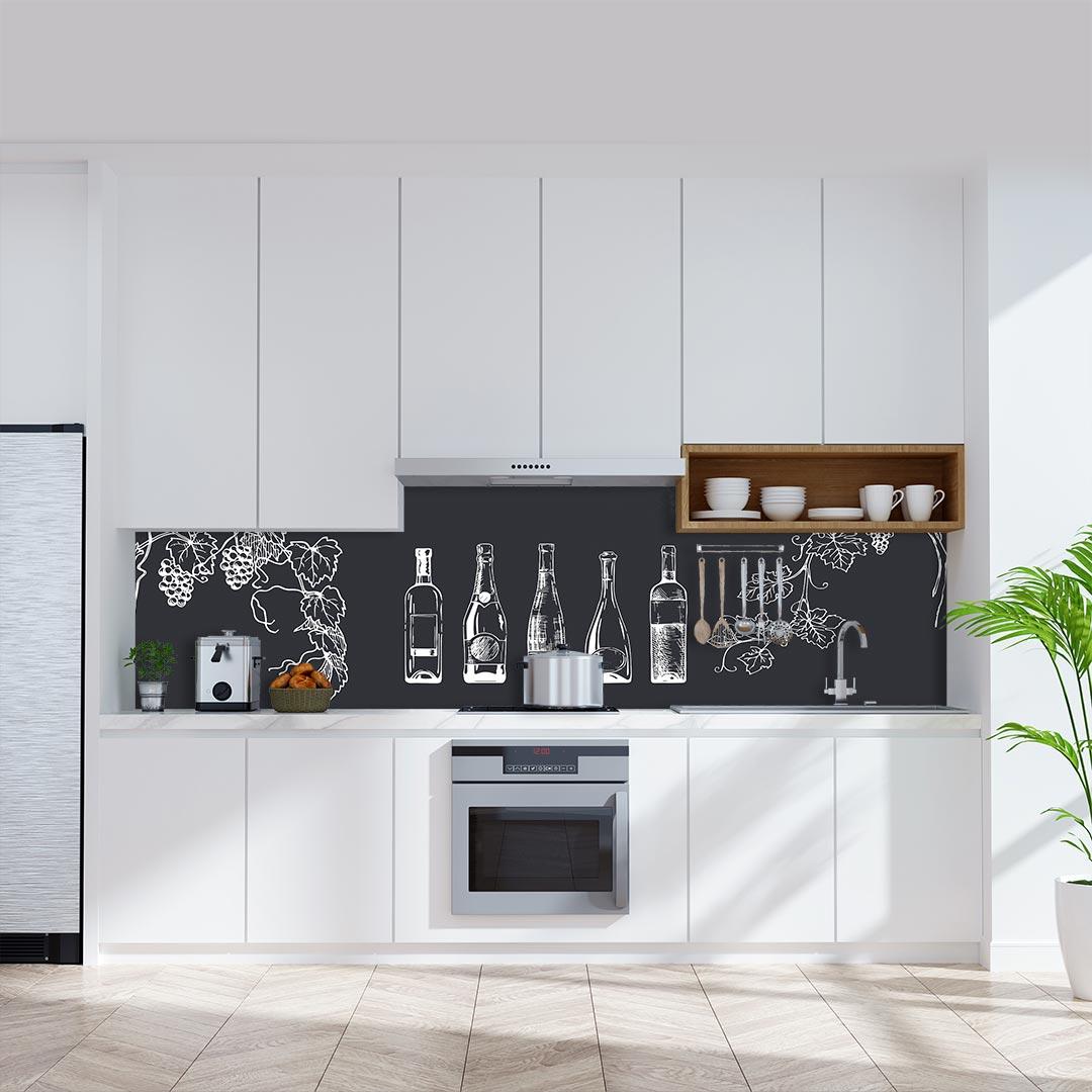 Küchenrückwand Weinflaschen grau