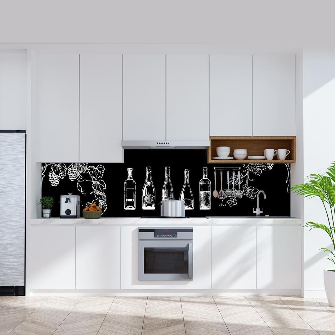 Küchenrückwand Weinflaschen schwarz