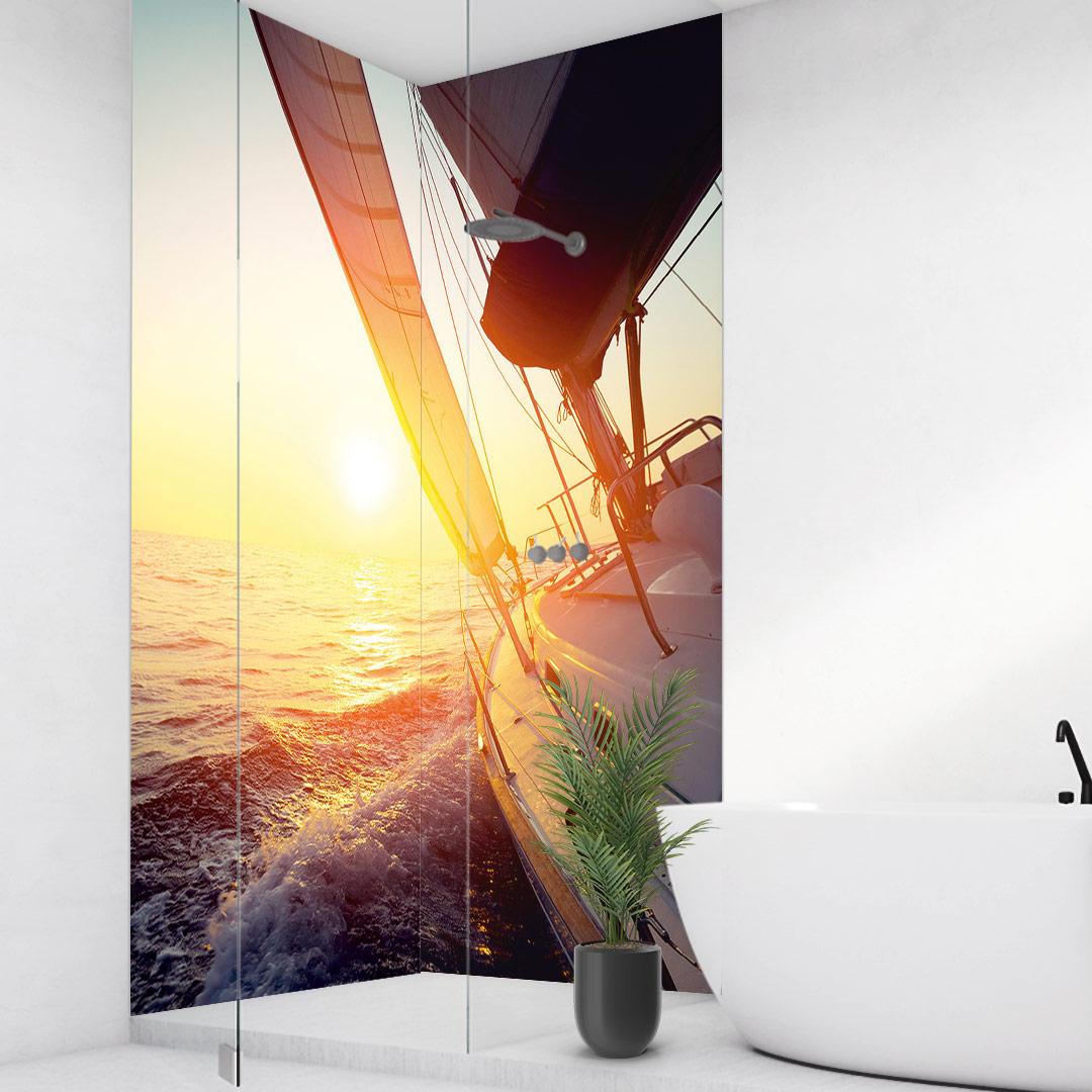 Duschrückwand Segelboot über Eck Set