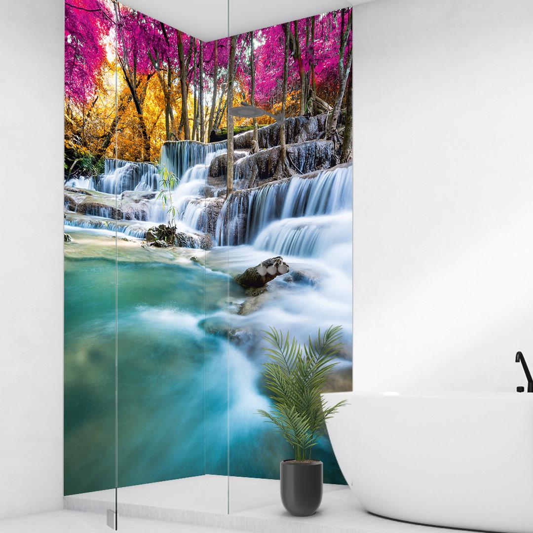 Duschrückwand Wasserfall Wald über Eck Set