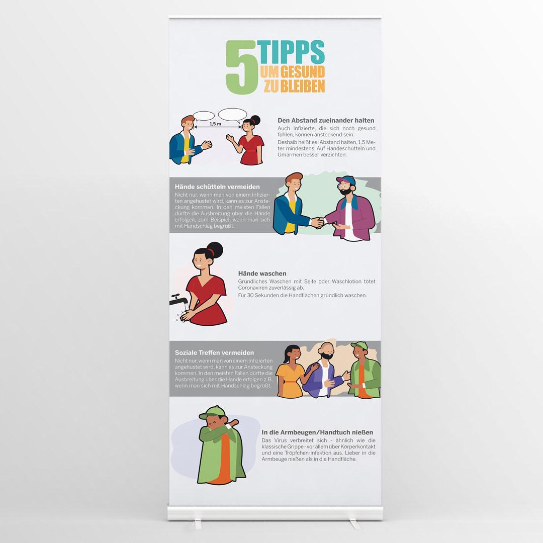 5 Tipps zum Gesund bleiben Roll Up Banner