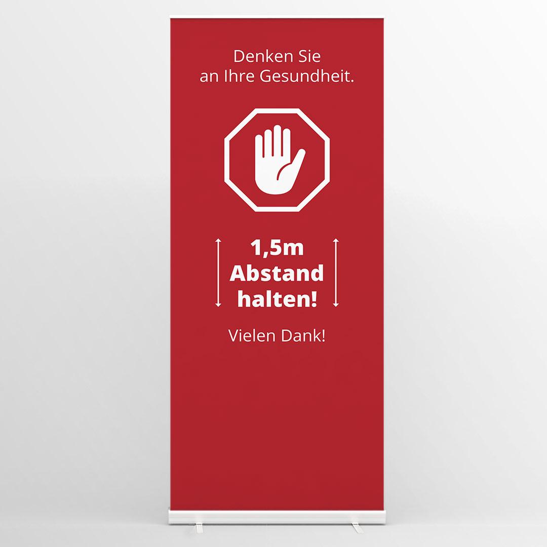 Abstandshinweis Roll Up Banner rot A