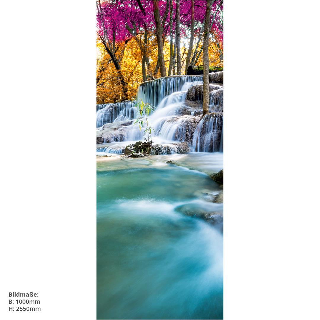 Duschrückwand Wasserfall Wald Massen