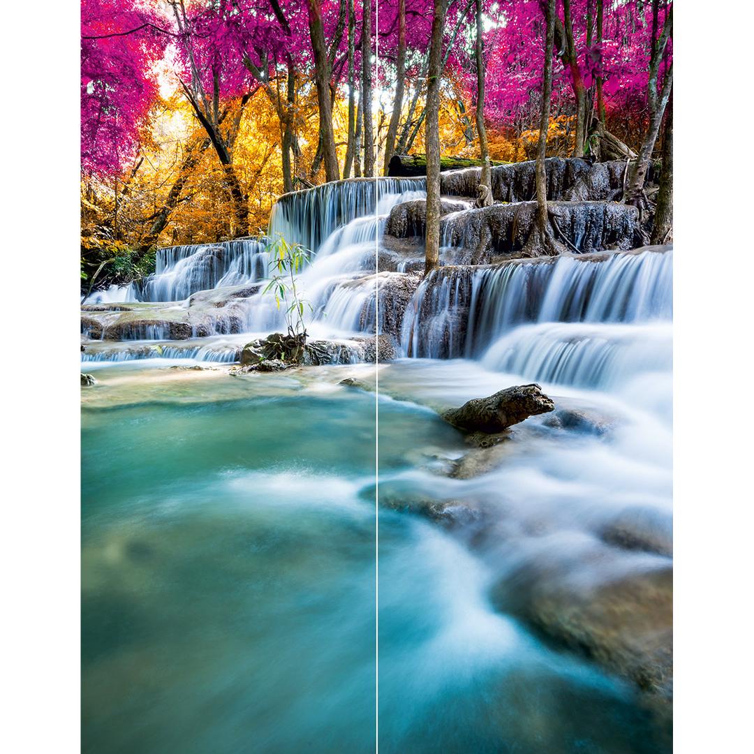 Duschrückwand Wasserfall Wald über Eck Set Motiv