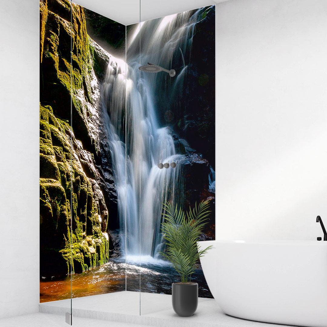 Duschrückwand Wasserfall Berge über Eck Set