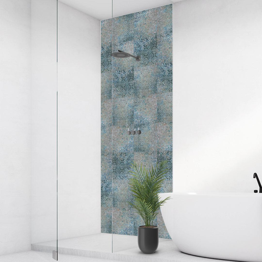 Duschrückwand blauer türkis Mosaik